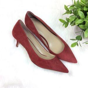 Ann Taylor Red Faux Suede Kitten Heels Size 7.5